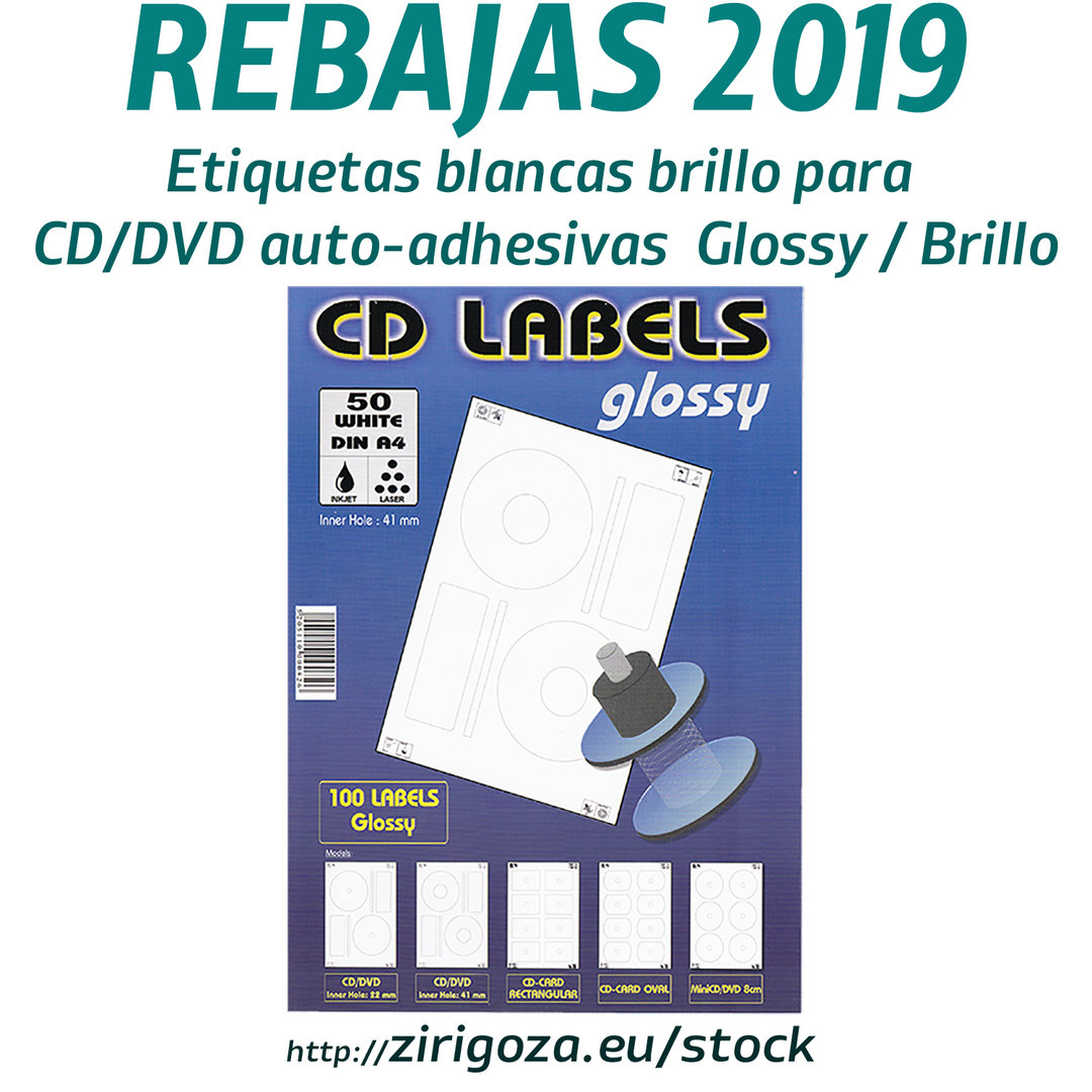Etiqueta o pegatina para CD DVD brillo