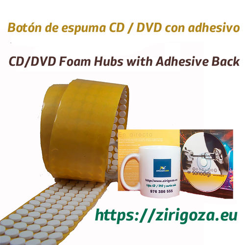 Adhesive buttons holding CD / DVD