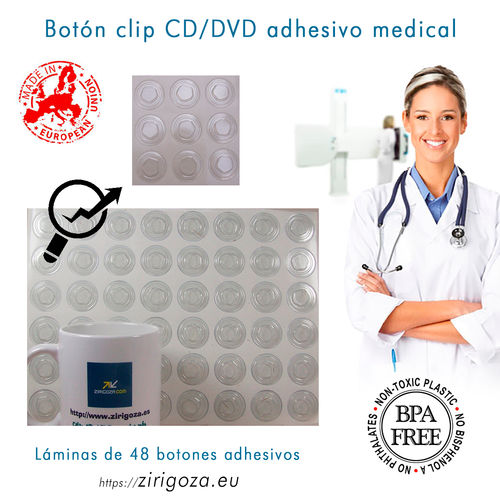 Button clip CD / DVD adhesive medical
