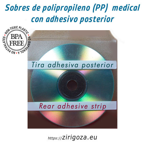 Envelope medical CD with posterior adhesives